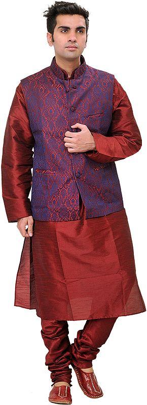 Tibetan-Red Three Piece Wedding Kurta Pajama Set with Vest