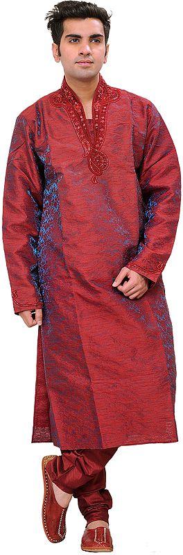 Garnet Wedding Kurta Pajama Set with Embroidered Beads on Neck