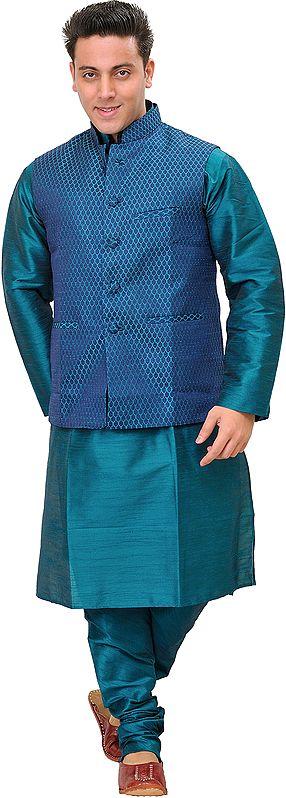 Harbor-Blue Three Piece Kurta Pajama Set with Brocaded Waistcoat