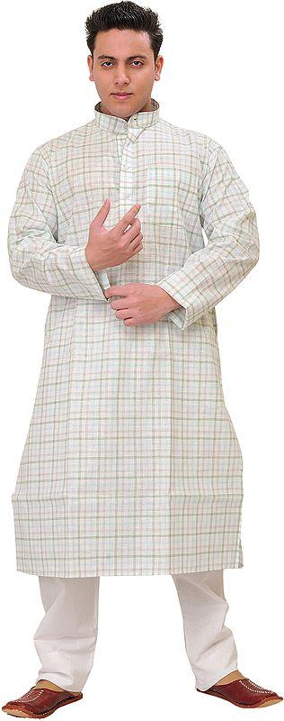 Kurta Pajama Set with Woven Checks All-Over