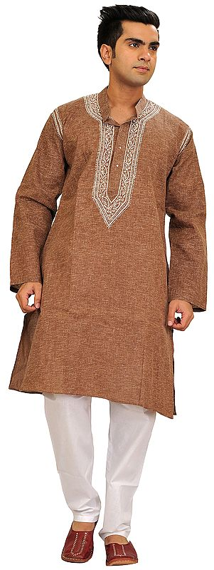 Casual Kurta Pajama Set with Chikan Hand-Embroidery on Neck