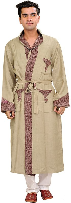 Robe from Kashmir with Ari Hand-Embroidery on Border
