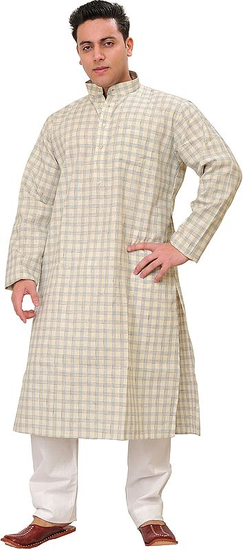 Cloud-Cream Casual Kurta Pajama Set with Woven Checks and Front Pocket