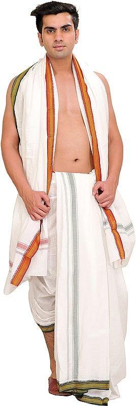 Egret-White Dhoti and Angavastram Set with Zari Weave on Border