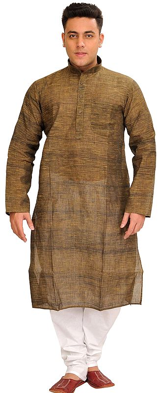 Pure Cotton Kurta Pajama Set with Thread Weave