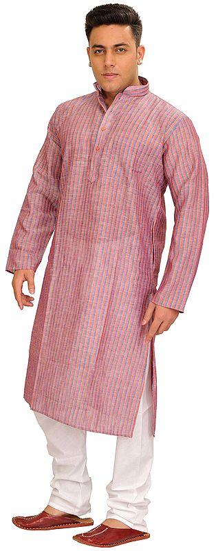 Strawberry-Ice Casual Kurta Pajama Set with Woven Stripes