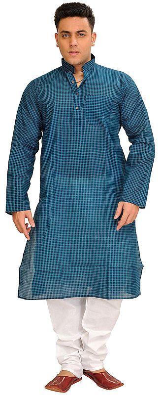 Summer Kurta Pajama Set with Printed Checks