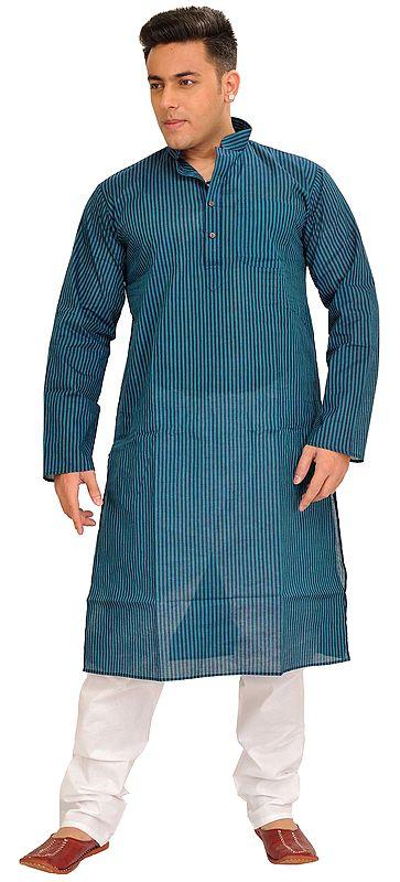 Casual Kurta Pajama Set with Printed Stripes
