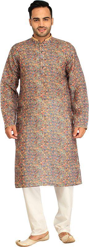Multicolored Digital-Printed Kurta Pajama Set