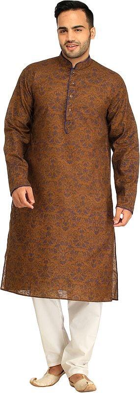 Bronze-Brown Kurta Pajama Set with Floral Print and Piping