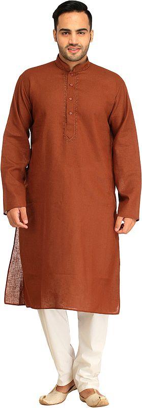 Plain Casual Kurta Pajama Set with Thread-Embroidery on Neck