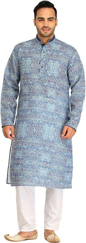 Riviera-Blue Kurta Pajama Set with Printed Mughal Motifs