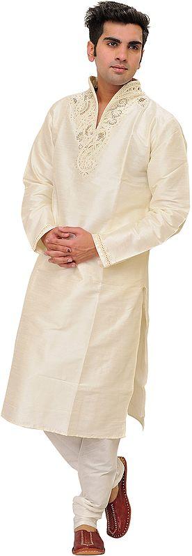 Ivory Wedding Kurta Pajama Set with Hand-Embroidered Pearls on Neck