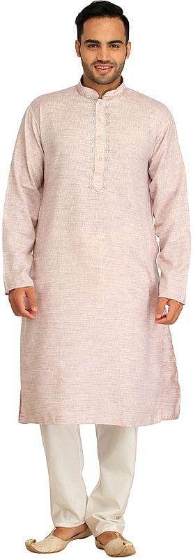 Pure Cotton Kurta Pajama Set with Thread-Embroidery on Neck