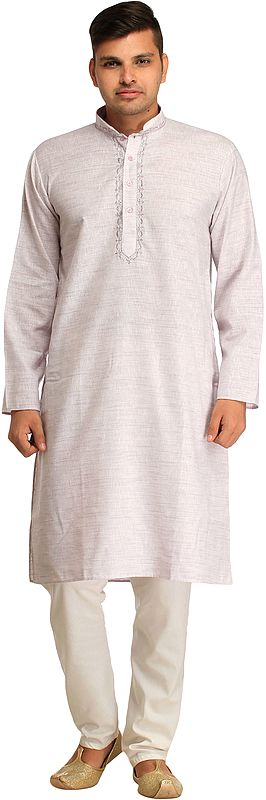 Pure Cotton Kurta Pajama Set with Thread-Embroidery on Neck
