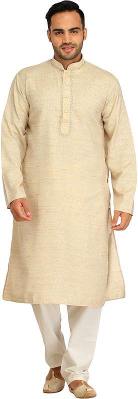 Antique-White Khadi Kurta Pajama Set