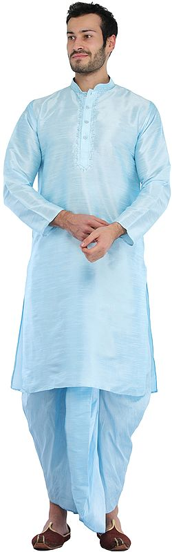 Plain Wedding Dhoti Kurta with Embroidery on Neck