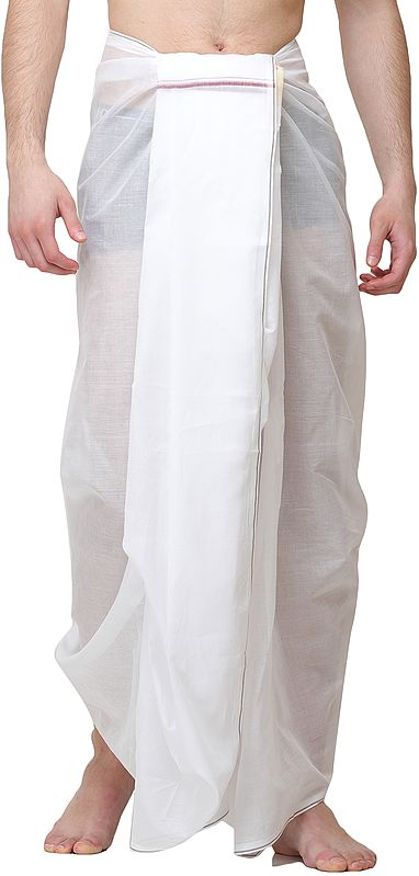 Pearl-White Dhoti with Woven Border