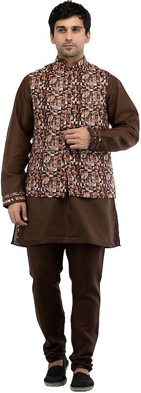 Nutmeg-Brown Three Piece Kurta Pajama Set with Digital Printed Waistcoat