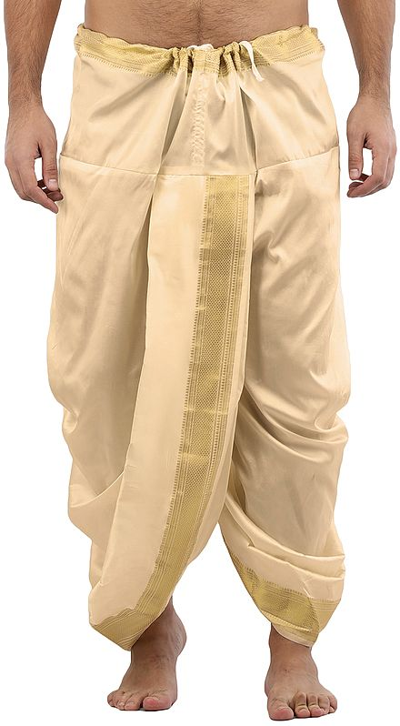 Ready to Wear Silk Dhoti with Wide Golden Border