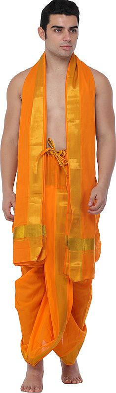 Ready to Wear Dhoti and Veshti Set from Kerala with Zari Woven Golden Border