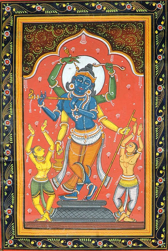 A Composite Image of Shri Rama, Chaitanya Mahaprabhu and Shri Krishna with Devotees
