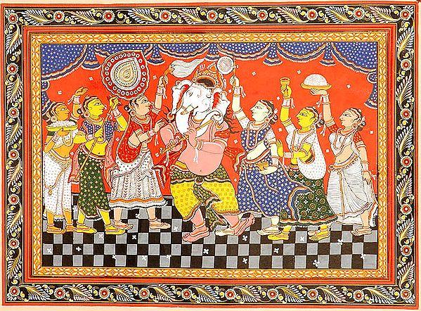 Adoration of Fluting Ganesha
