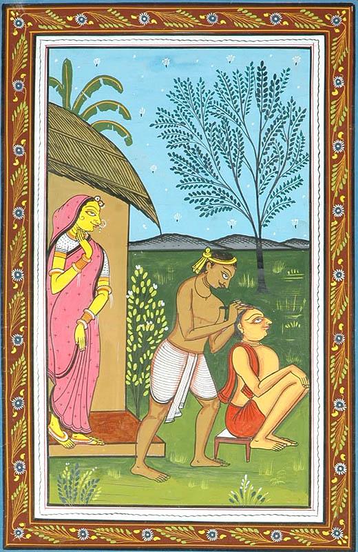 Chaitanya Mahaprabhu Shaving His Head to Become a Vaishnava Samyasi