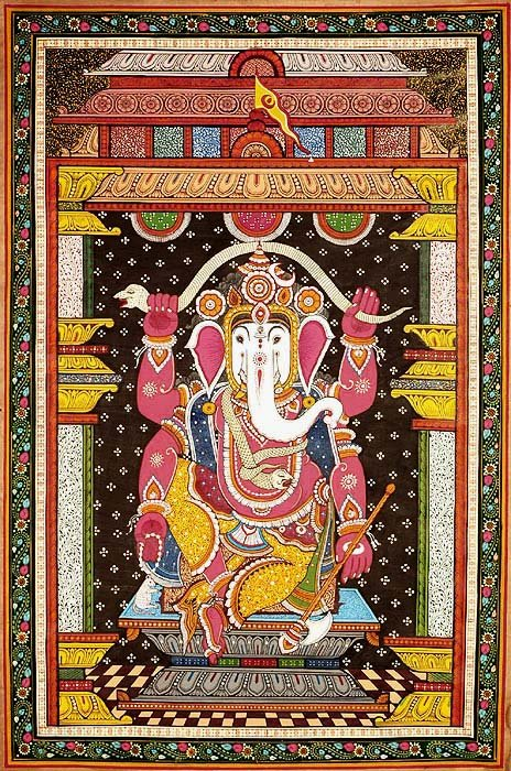 Chaturbhuja Ganesha with White Head Dancing with a Serpent Stretched Over His Head
