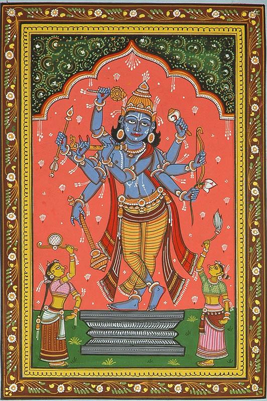 Composite Image of Shri Rama, Krishna and Vishnu