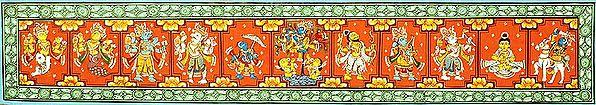 Dashavatara Panel with a Scene from Krishna Lila (Kanhaiya Steals Cloths of Gopis)