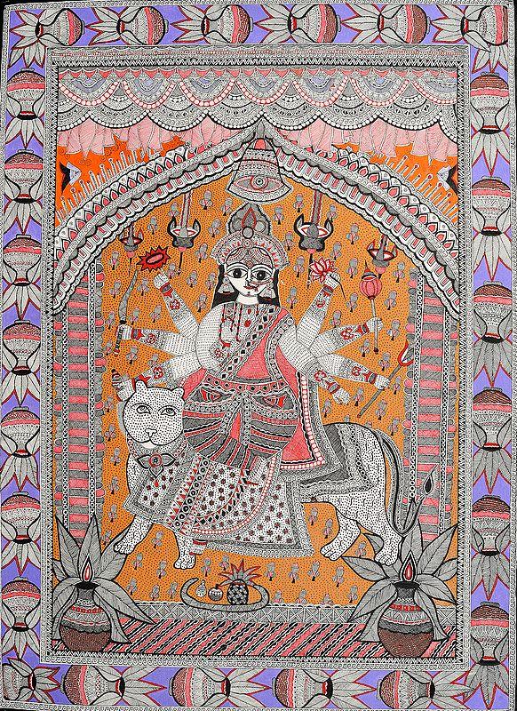 Eight-armed Durga: A Masterpiece of Madhubani Art-style