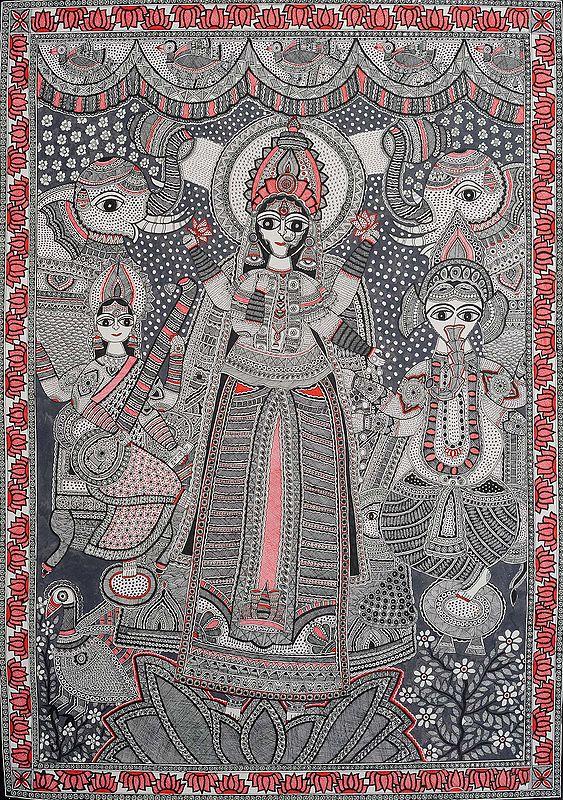 Gaja-Lakshmi with Saraswati and Ganesha