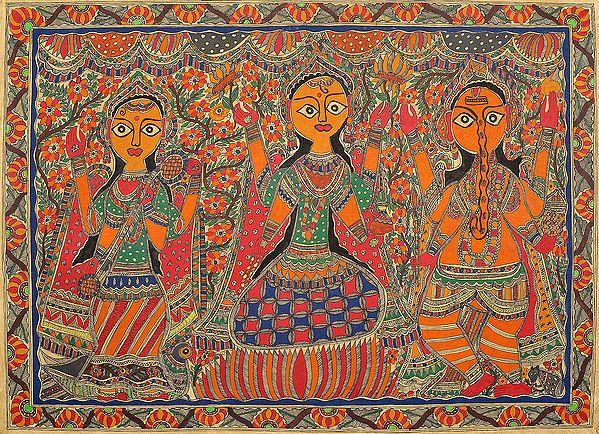 Saraswati, Lakshmi and Ganesha