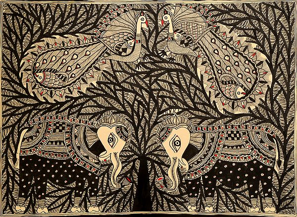 Tree of Life with Peacock and Elephant Pairs
