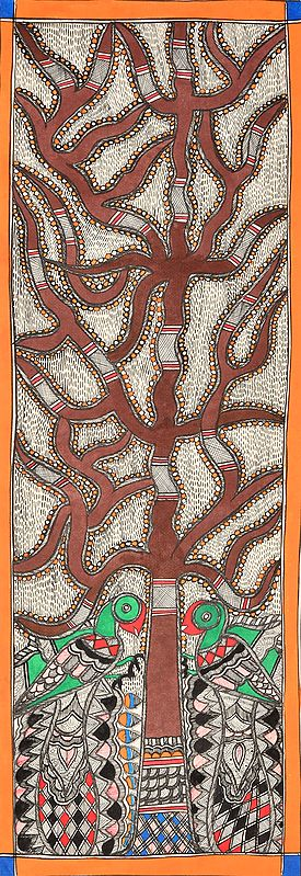 Peacocks Perched on Tree of Life with Fishes