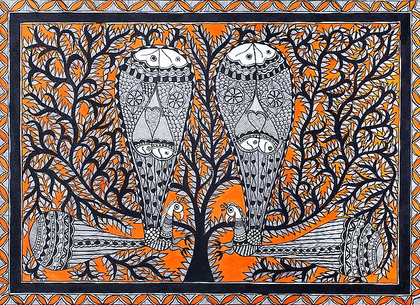 Pair of Peacock Made of Fishes On Tree Of Life