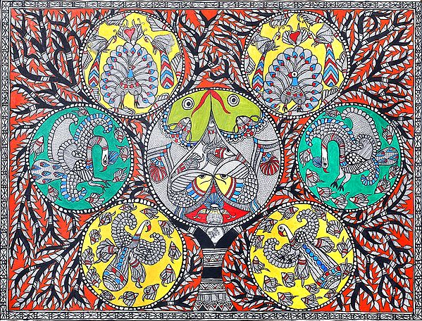 Auspicious Madhubani of Tree of Life with Peacocks and Fishes