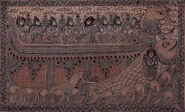 Matsya Avatar of Vishnu Saving Rishis During Pralaya