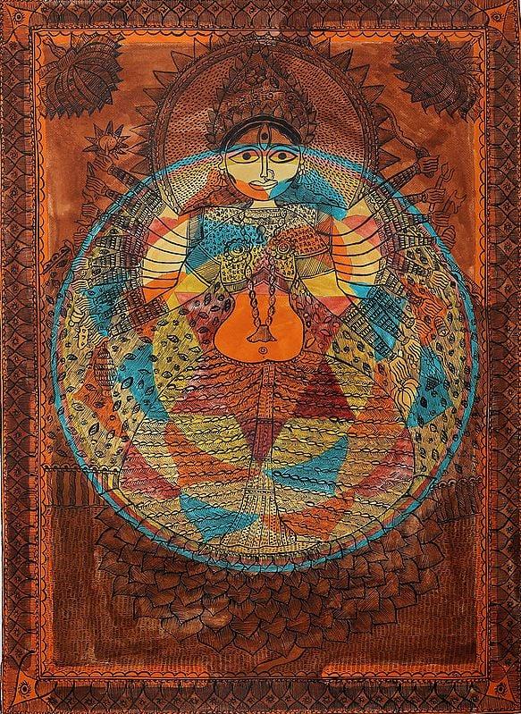 Goddess Maha Lakshmi With Her Yantra