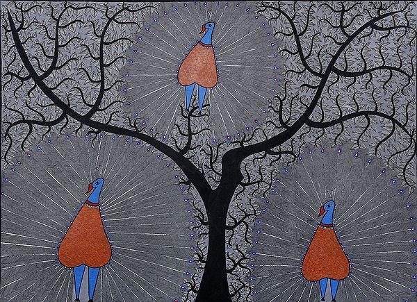 Dancing Peacocks on Tree of Life