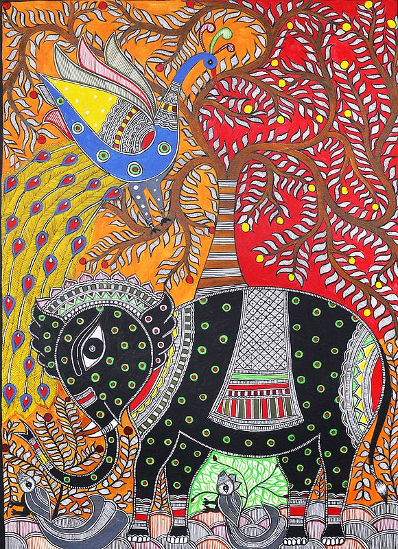 Elephant and Peacock with Tree of Life