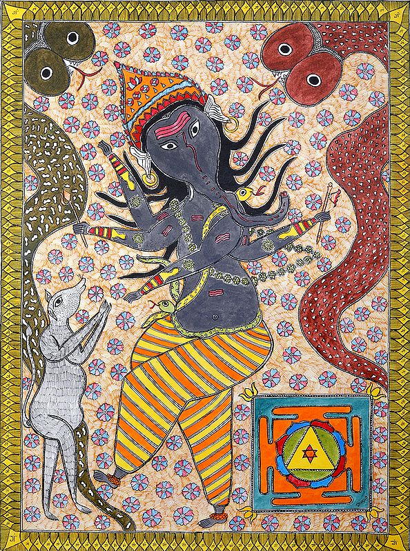 Ganesha's Tandava with Two Serpents and Yantra