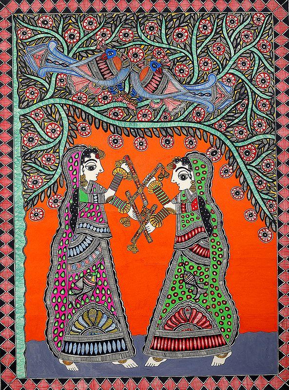 Damsels Playing Dandiya  (The Folk Dance of Gujarat)