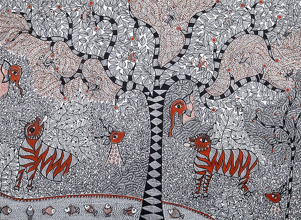 Dense Tree of Life with Wildlife and Fishes