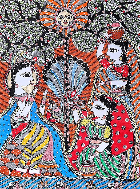 Krishna Playing Flute, His Tunes Leaving Gopis Mesmerized