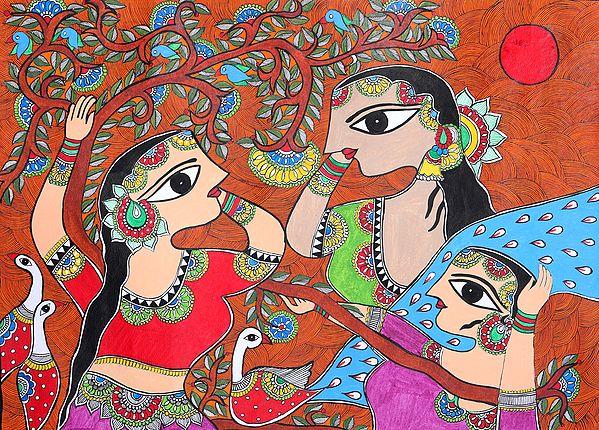 Gopis in Upavan Eagerly Waiting to Witness Krishna Lila