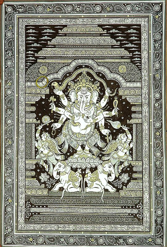 Eight Armed Dancing Ganesha with Flywhisk Bearers and Twin Elephants