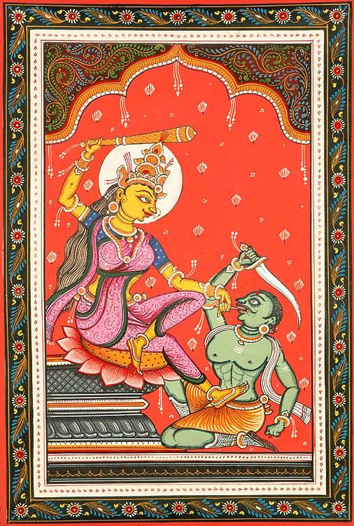 Goddess Mahavidya Bagalamukhi Pulls The 'Evil Tongue' (Ten Mahavidyas)