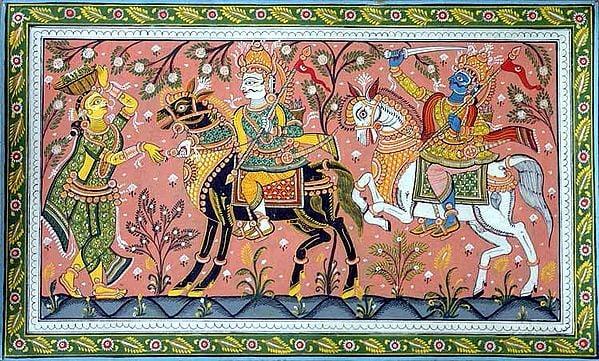 Jagannath, Baladev and Manika the Milk-Maid